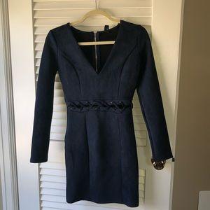 Navy Blue Mini Suede Dress